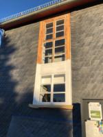 Sprossenfenster abgebrannt und neuer Anstrich mit Leinölfarbe